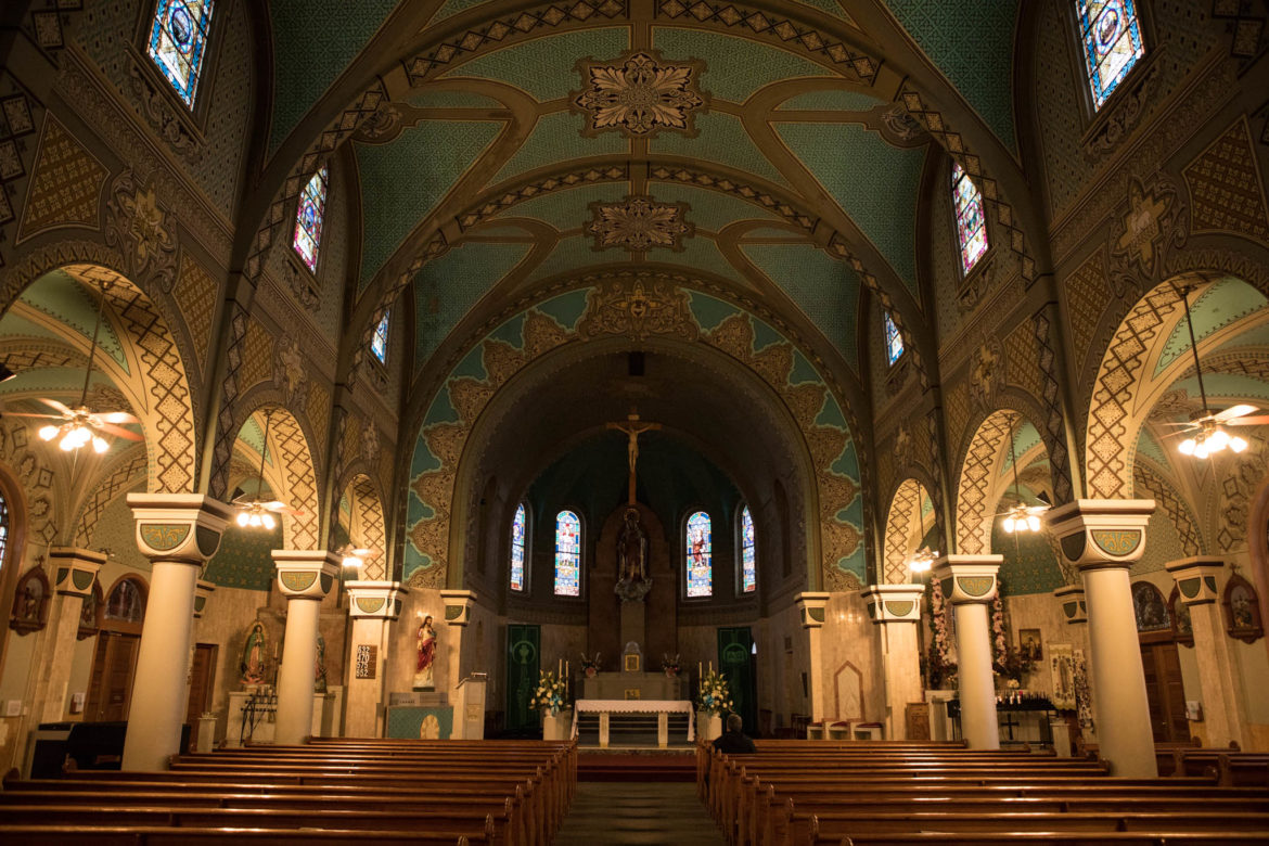 The interior of Immaculate Heart of Mary Catholic Church.