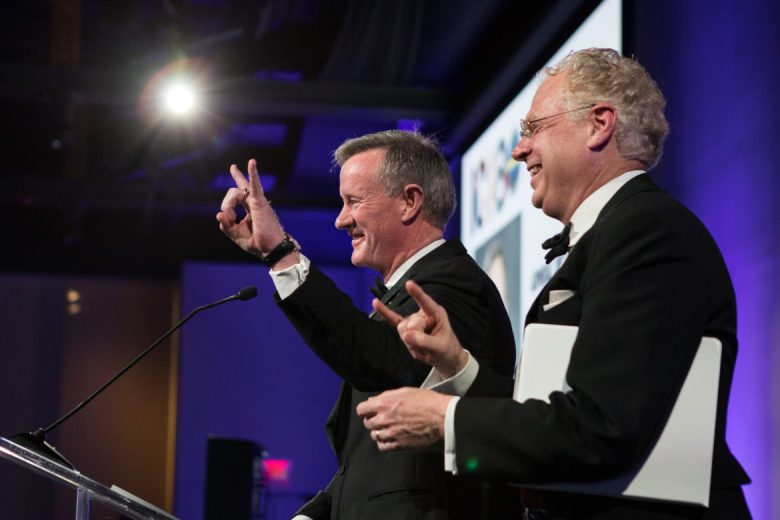 Patrick Tobin (right) introduces William McRaven, University of Texas System Chancellor, at the International Citizen of the Year Award Dinner hosted by the World Affairs Council of San Antonio at the Witte Museum.