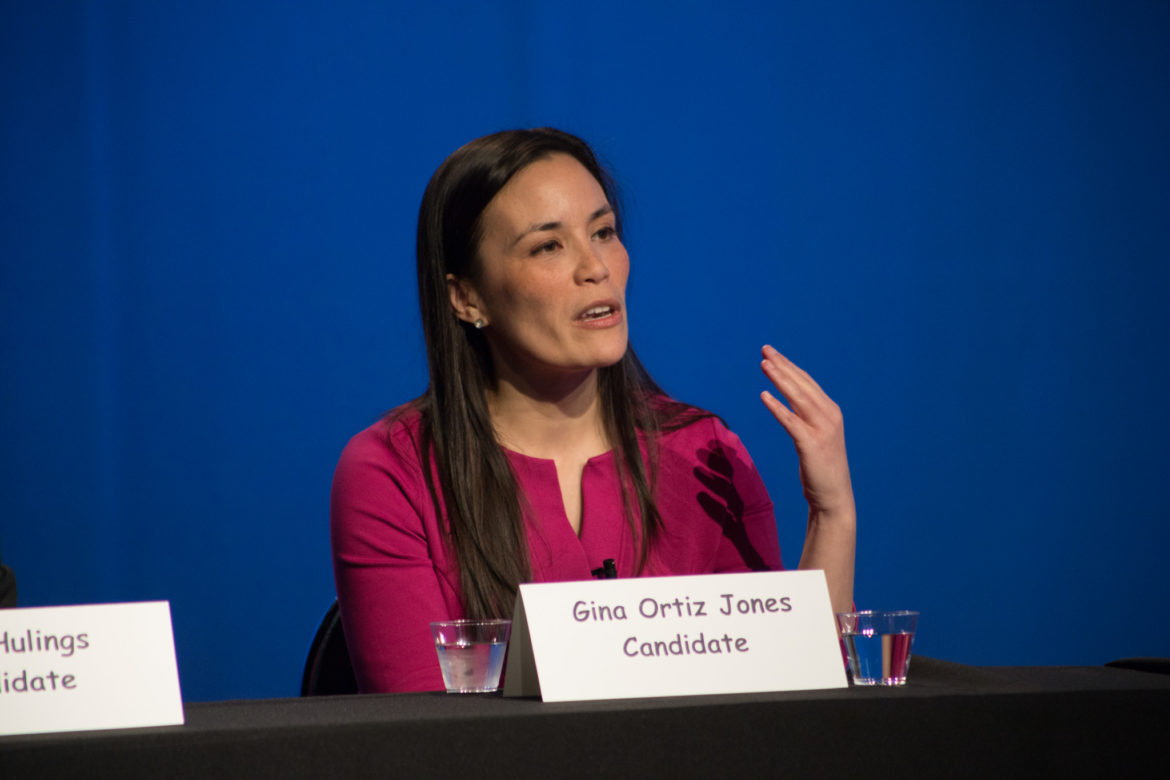 Candidate Gina Ortiz Jones speaks at the Democratic Candidate Forum for TX-23.