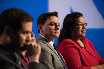 Candidates (from left) Jay Hulings, Gina Ortiz Jones, Rick Treviño, and Angela Villescaz participate in the Democratic Candidate Forum for TX-23.