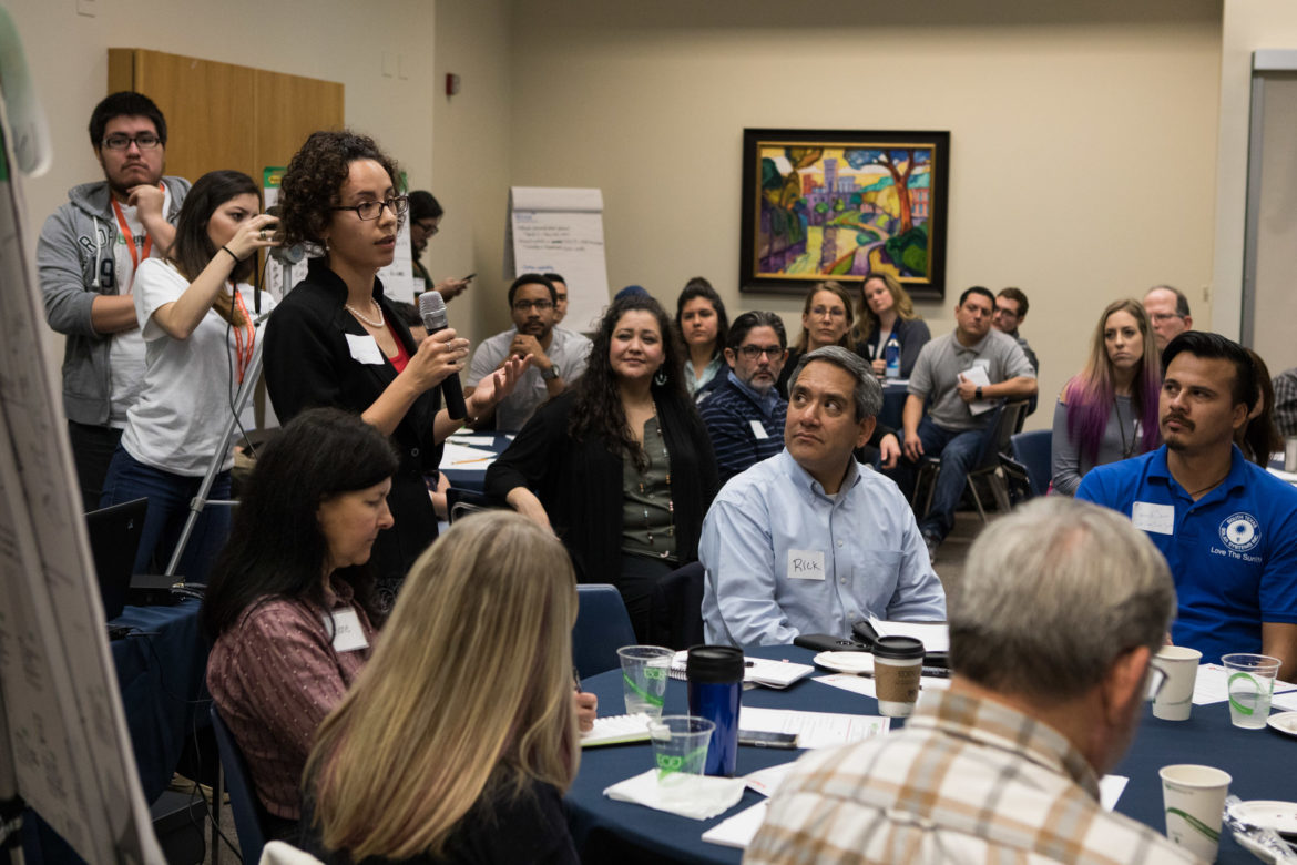 Jesse Chadwick presents her group's ideas at SA Climate Ready Town Hall at UTSA Downtown.