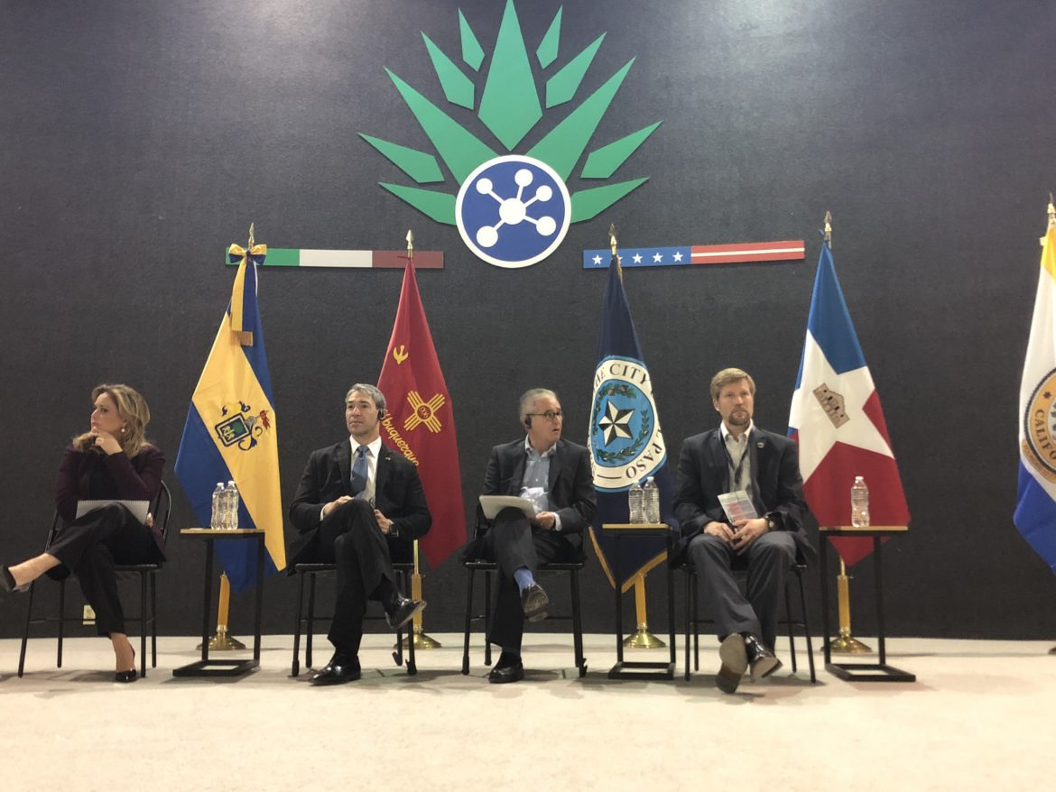 """From left: Chihuahua Mayor María Eugenia Campos Galván, San Antonio Mayor Ron Nirenberg, Guadalajara Mayor Juan Enrique Ibarra, and Albuquerque Mayor Tim Keller headlined the """"Value and Focus of City to City Linkages"""" panel during the All Mexico-US Sister Cities Mayors' Summit."""