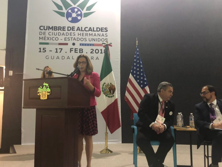 Councilwoman Shirley Gonzales speaks about immigrant success stories in San Antonio during the All Mexico-US Sister Cities Mayors' Summit.