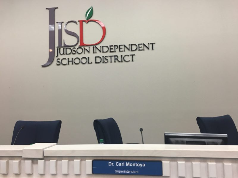 An empty chair of Superintendent Carl Montoya as he announces his retirement from Judson ISD.