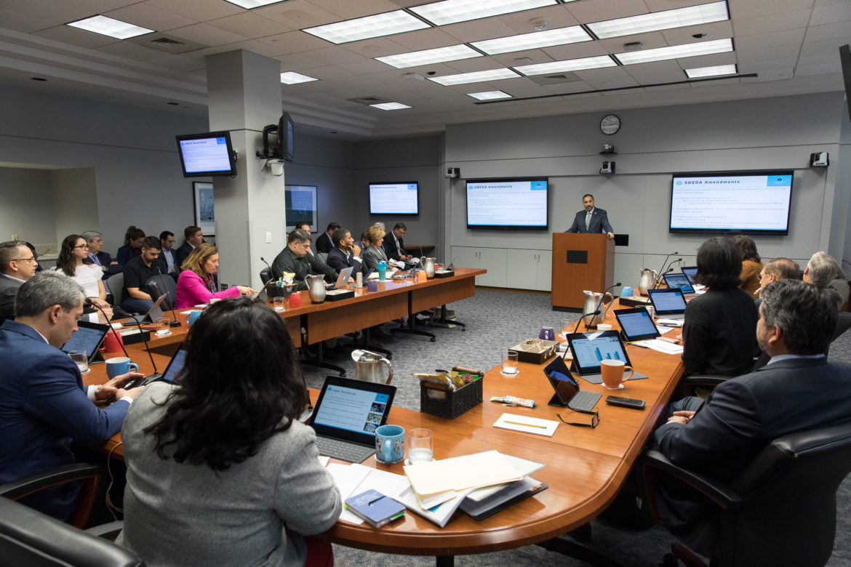 Economic Development Director Rene Dominguez addresses City Council during it's B Session Meeting.