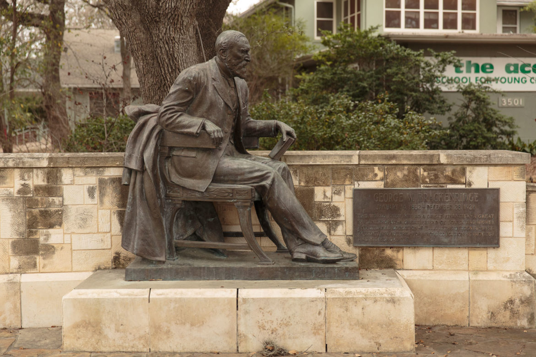 A statue of George Brackenridge along Broadway Street.
