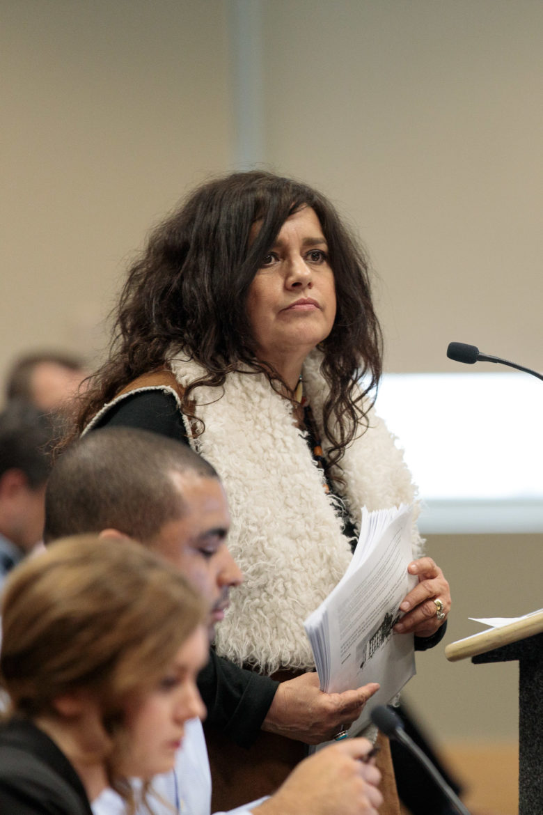 Maria Torres of the Pacuache Indian First Nation voices her opposition to the project.