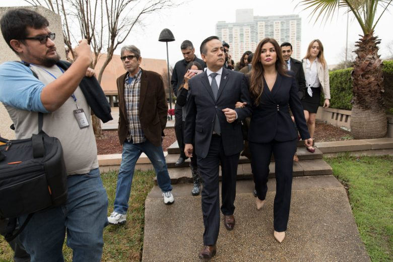 State Sen. Carlos Uresti (D-San Antonio) and his wife Lleanna leave the federal courthouse following his verdict of guilty of all counts.
