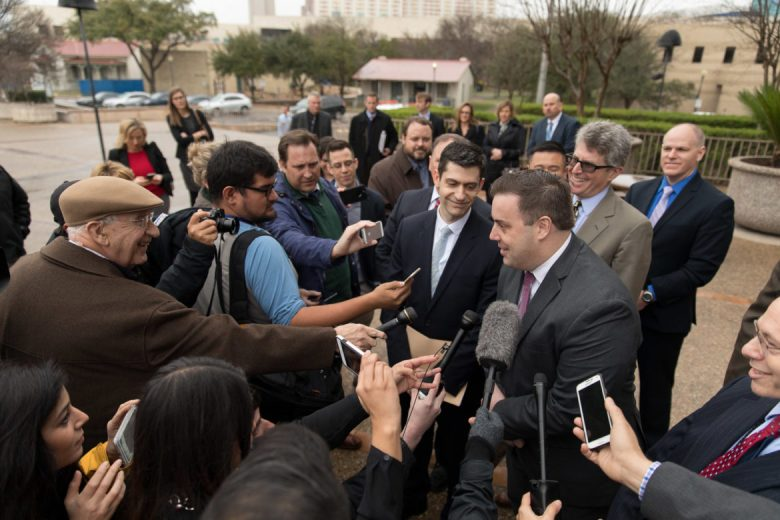 Assistant U.S. AttorneyJoe Blackwell responds to reporters following the verdict.