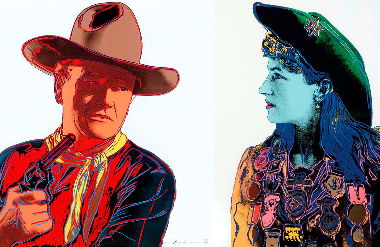 (from left) Andy Warhol, John Wayne, 1986, Andy Warhol, Annie Oakley, 1986
