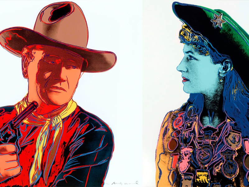 (from left) Andy Warhol, John Wayne, 1986, Andy Warhol, Annie Oakley, 1986
