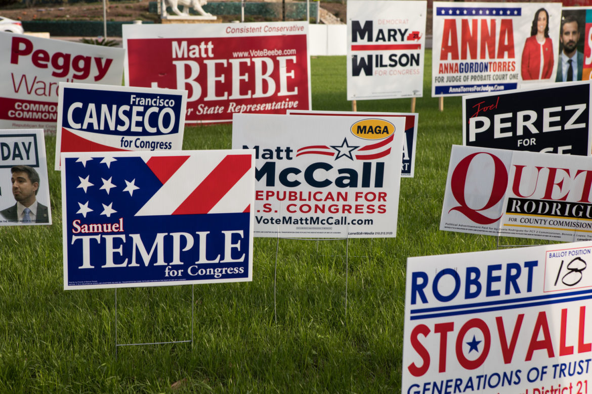 Campaign signs line the grass at Lion's Field.
