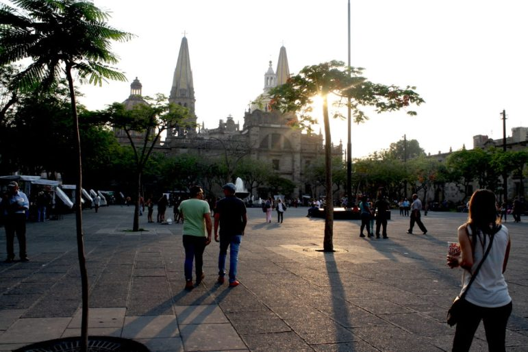 The historic city center of Guadalajara, Mexico is known for its fountains and cultural centers.