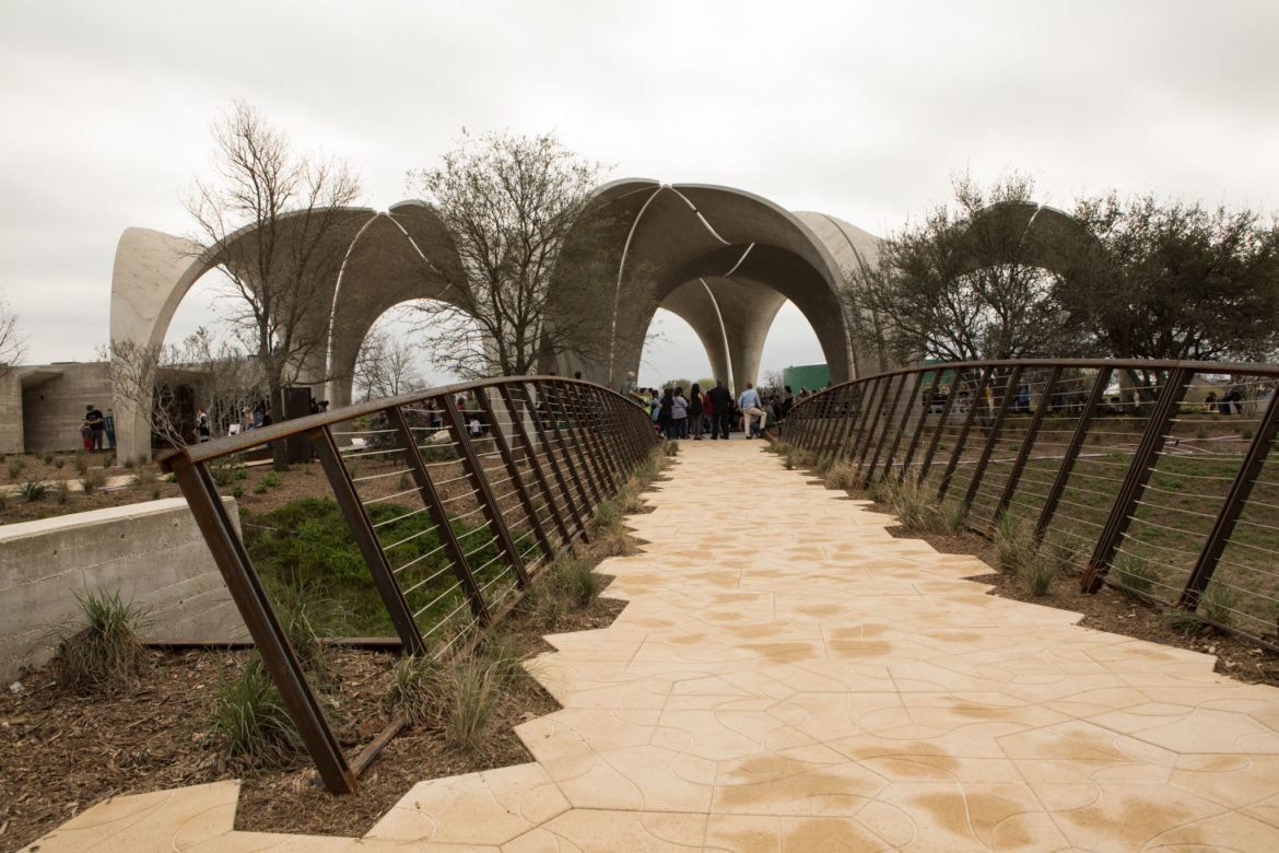 A bridge at Confluence Park crosses the so-called embayment, where underground rainwater harvesting structures are buried.
