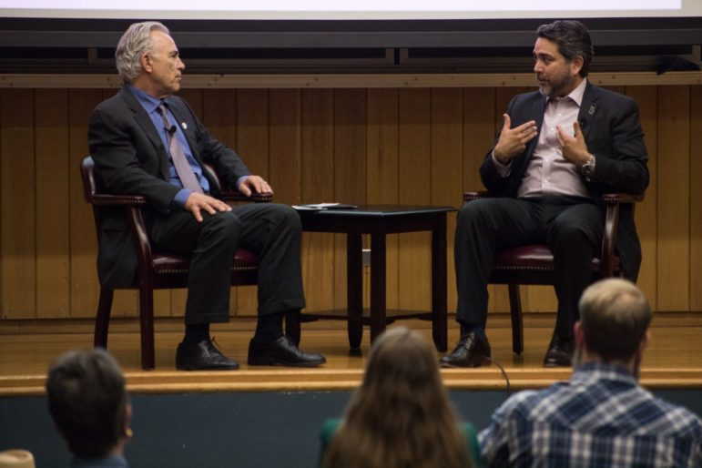 (From left) Rivard Report Director Robert Rivard speaks with Councilman Roberto Treviño (D1) at Conversations with the Council at Trinity University.