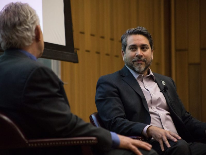 Councilman Roberto Treviño (D1) speaks with Rivard Report Director Robert Rivard at Conversations with the Council at Trinity University.