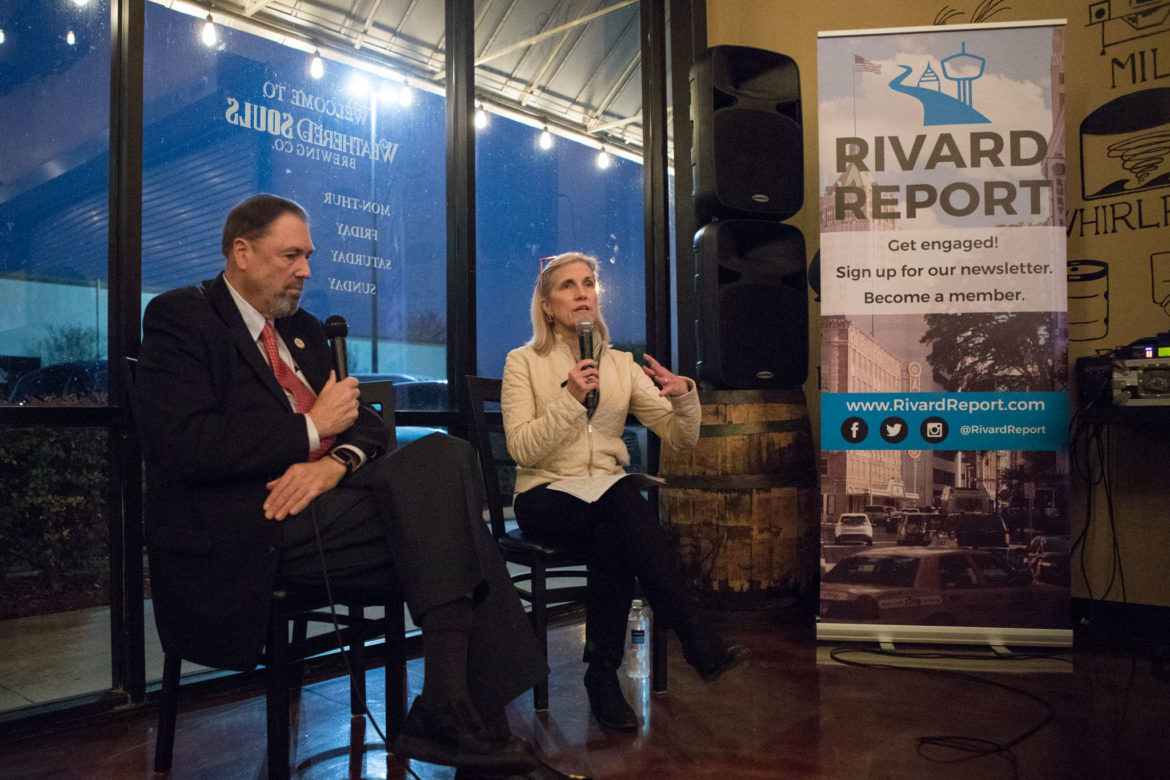 (From left) Councilman John Courage (D9) and Rivard Report Editor-In-Chief Beth Frerking engage in a discussion at the Rivard Report Conversations with the Council series at Weathered Souls Brewing Co. in February.