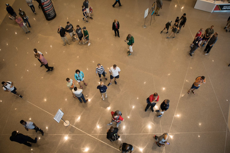 Crowds walk through Henry B. Gonzalez Convention Center before the 2018 NCAA Final Four.