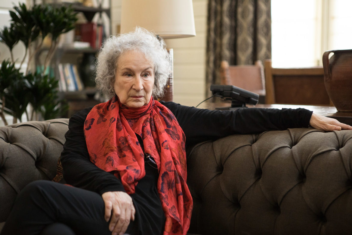 Writer Margaret Atwood gives an interview at Hotel Emma.