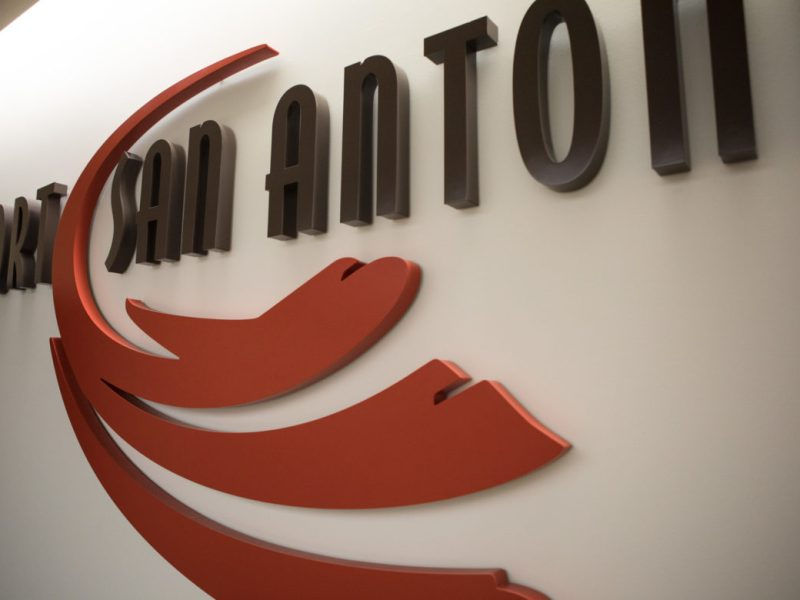 The logo in the Port San Antonio board room