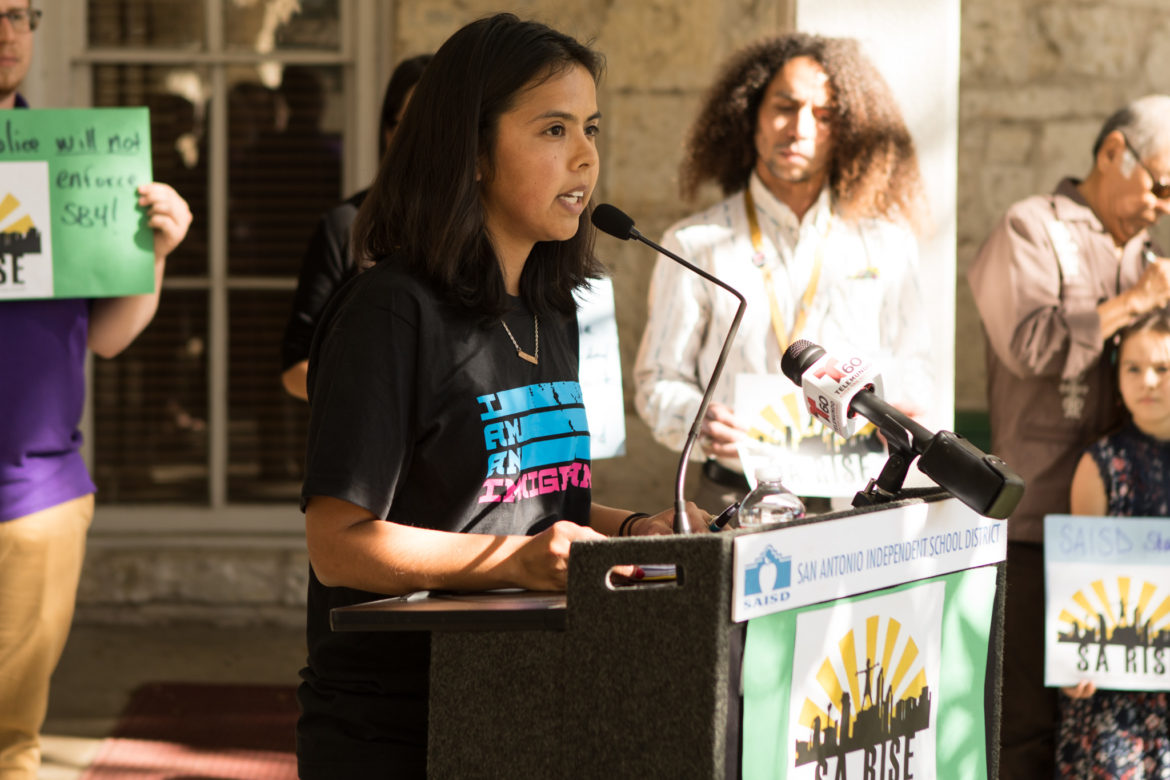Maria Rocha speaks at the announcement of the collaboration between SA RISE, SAISD Police Chief Curiel, and the SAISD district in regards to the handbook about Senate Bill 4.