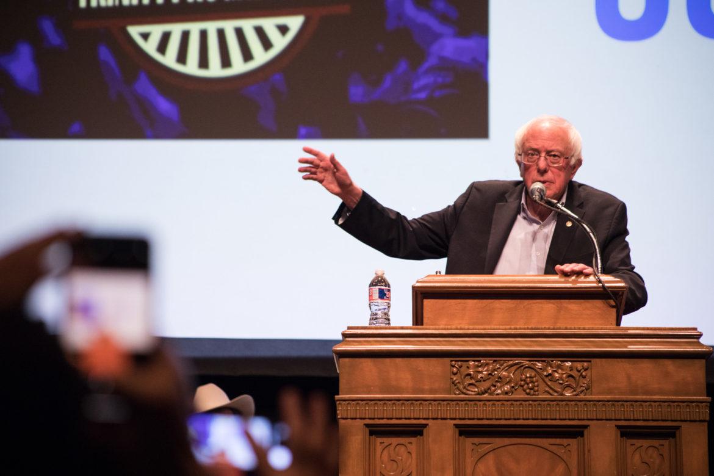 Vermont Senator Bernie Sanders animates the filled auditorium at Trinity University.