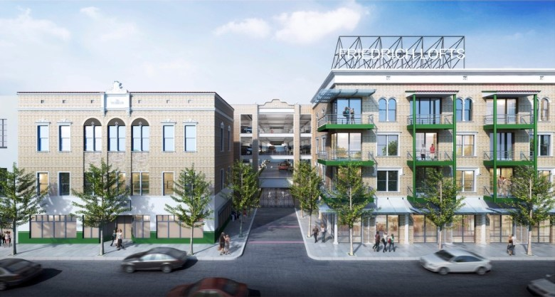The Friedrich Lofts apartment complex (right) will be located behind and next to the historic Friedrich building (left) at 1617 East Commerce Street.