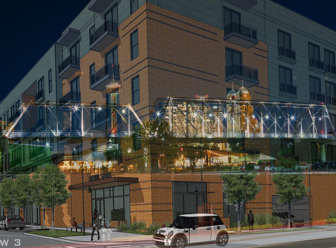 """Kristel Orta Puente, a professional photographer, composed this image from a project rendering of """"The Bridge"""" apartments and a photo of the Hays Street Bridge at night from roughly the same angle. Orta Puente is opposed to the development that would block neighborhood views of the bridge."""