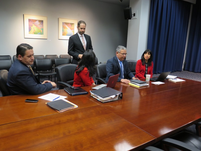 Jeff Coyle, the City's government and public affairs director (center), speaks with (from left) Deputy City Manager Erik Walsh, First Assistant City Attorney Elizabeth Provencio, City Attorney Andy Segovia, and Assistant City Manager María Villagómez at the negotiating table at City Hall.