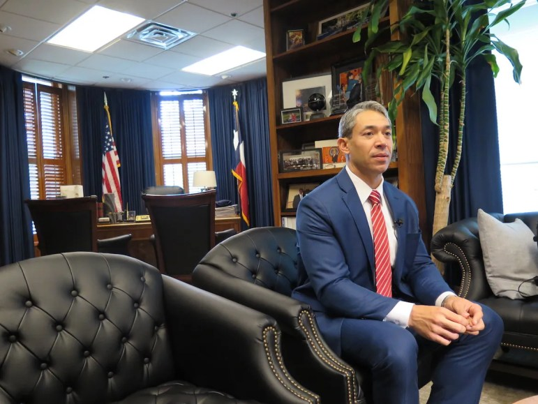 Mayor Ron Nirenberg speaks with reporters in his office about the City's first official contract proposal to the fire union on March 27, 2018.