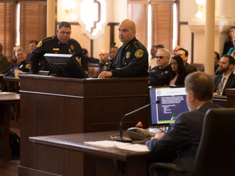 Bexar County Sheriff Javier Salazar answers questions from Bexar County Commissioners.