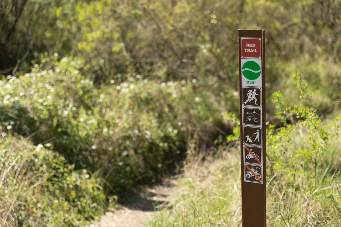 The new markers found along the red trail at McAllister Park.