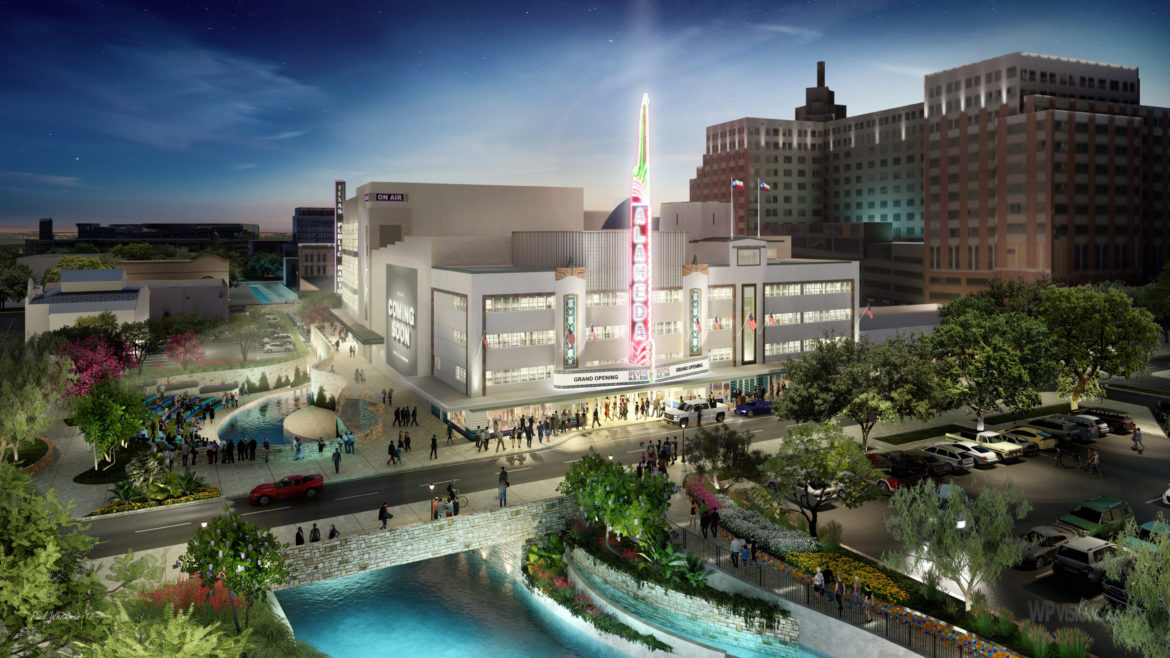 A preliminary rendering of the Alameda Theater which sits along the San Pedro Creek Culture Park.