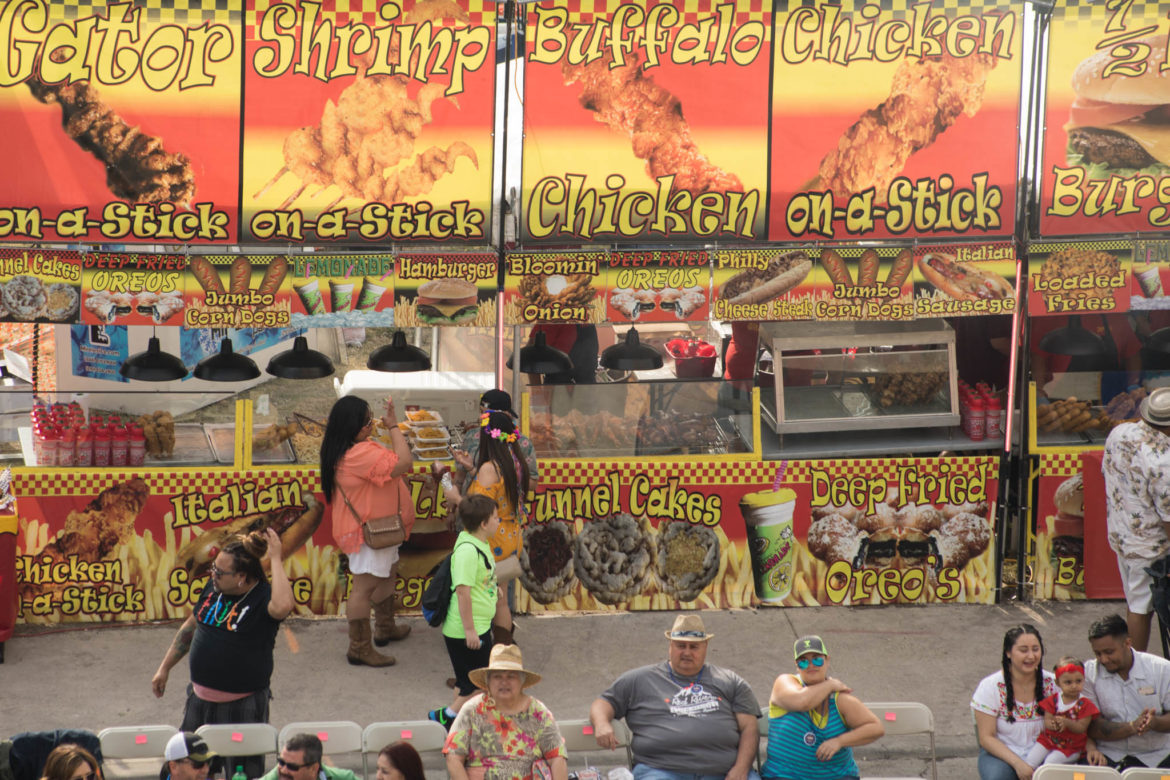 Many fried food options are available on Broadway Street.