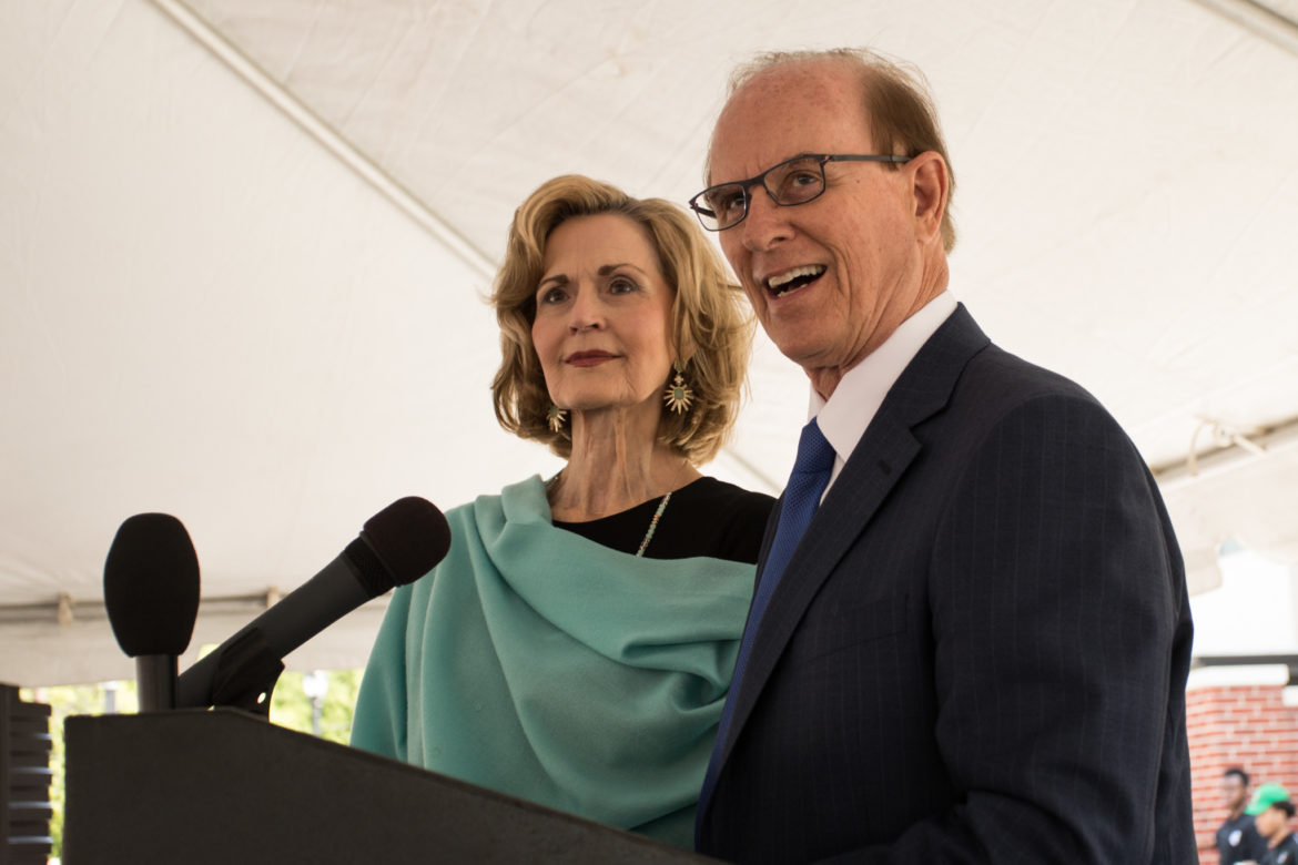 (From left) Tracy Wolff and Bexar County Judge Nelson Wolff welcome a large crowd to Bexar County's third full-service BiblioTech branch on the East Side.