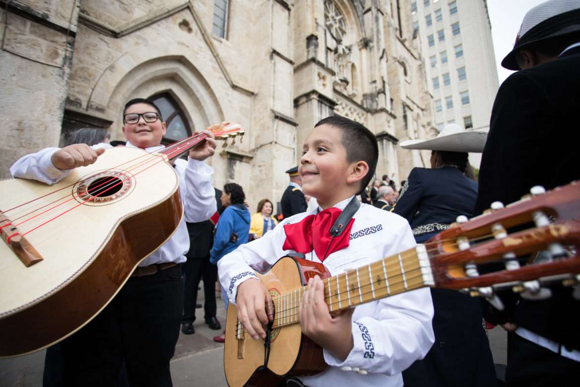 (From left) Leonardo, 12, and Leonel, 7, practice before the Rey Feo parade.