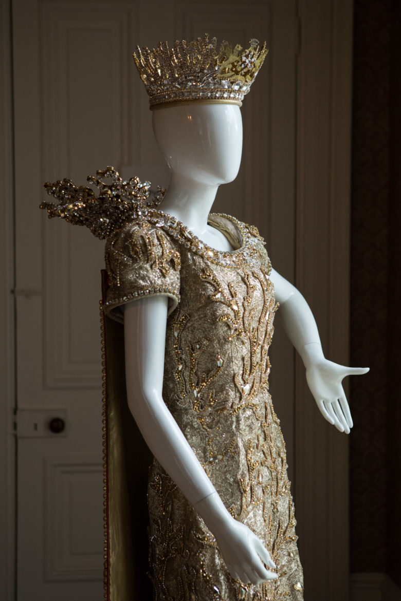 The gown worn in 2015 by Lida Wilhelmina Emilia Steves, Queen Court of Captivating Islands, is on display at the Edward Steves Homestead Museum.