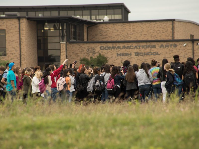 Students walk out in protest against gun violence, following the Parkland, Florida school shooting, at William H. Taft High School.