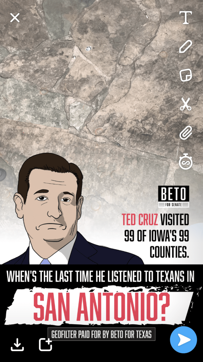 A Beto O'Rourke-sponsored geo filter was released at a U.S. Senator Ted Cruz (R-TX) campaign stop Tuesday afternoon at La Hacienda Scenic Loop.