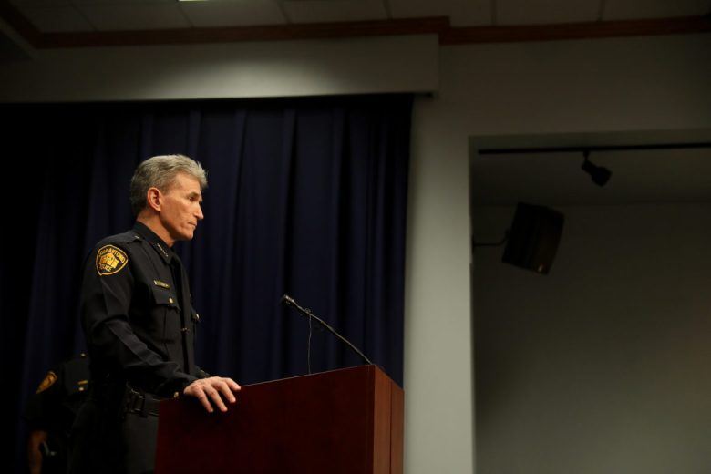 San Antonio Police Chief William McManus answers questions from reporters.