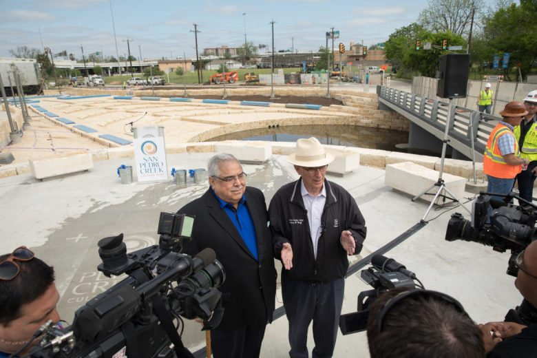 County Commissioner Paul Elizondo (Pct 2) and County Judge Nelson Wolff speak with the media 30 days before the opening of San Pedro Creek Culture Park.