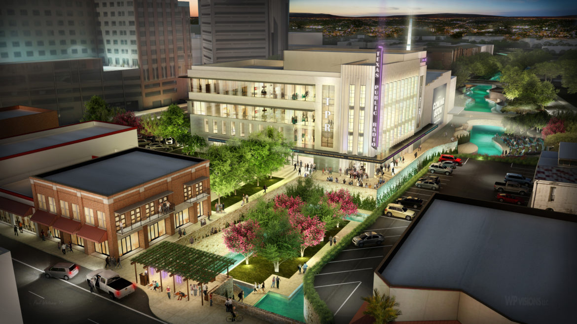 A preliminary rendering of the Texas Public Radio headquarters to be located on the South side of the Alameda Theater.