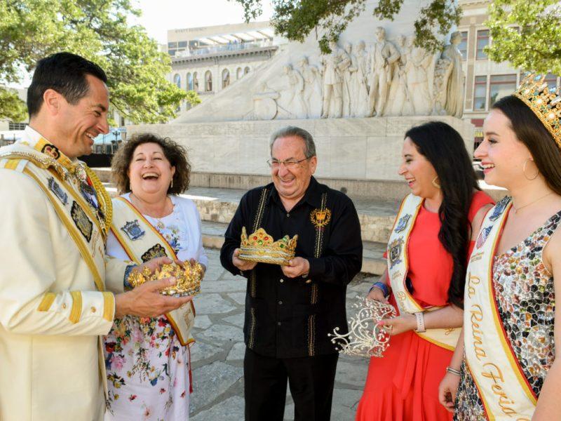 (From left) Rey Feo LXX Ken Flores; Irma Flores, Fiesta Commission President in 2003; El Rey Feo LXVIII Antonio Flores Jr.; Lorrie Tijerina, Reina de la Feria de las Flores in 1996; and Reina de la Feria de las Flores Ariana Flores.