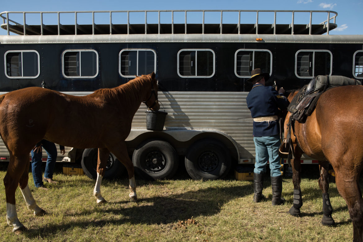 Horses from the 1st Cavalry Division Horse Cavalry Detachment from Fort Hood, Texas, wait to leave Fort Sam Houston for the day.