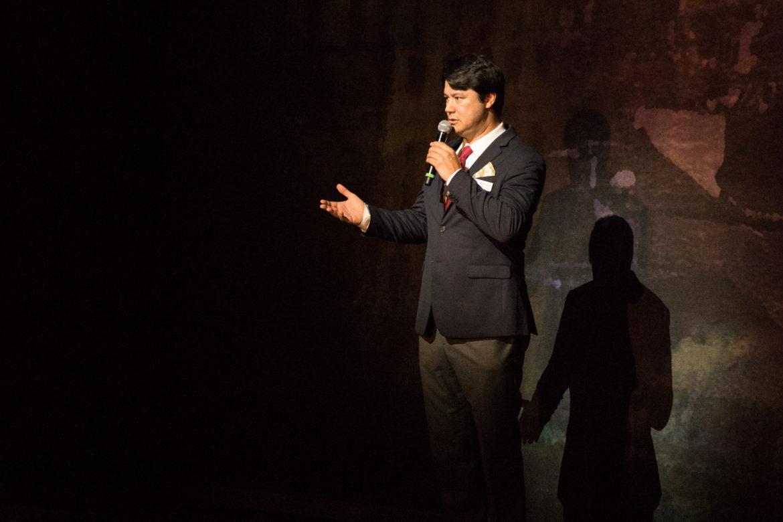 Adam Diegel, OPERA San Antonio artistic director, welcomes the audience to a dress rehearsal of La Bohème.