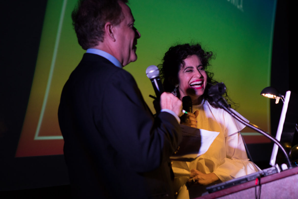 Mónica del Arenal laughs with News 4 San Antonio's weeknight anchor Randy Beamer.
