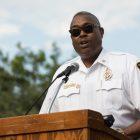 Fire Chief Charles Hood honors Scott Deem's memory.