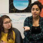 (From left) South San High School sophomore Sabrina Salinas and junior Melivia Mujica voice their concerns.