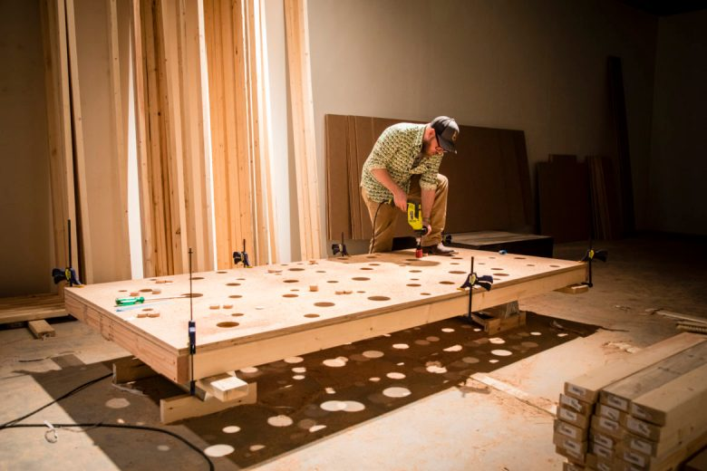 Chris Sauter works on his installation Pleasure Principle for Immersed.