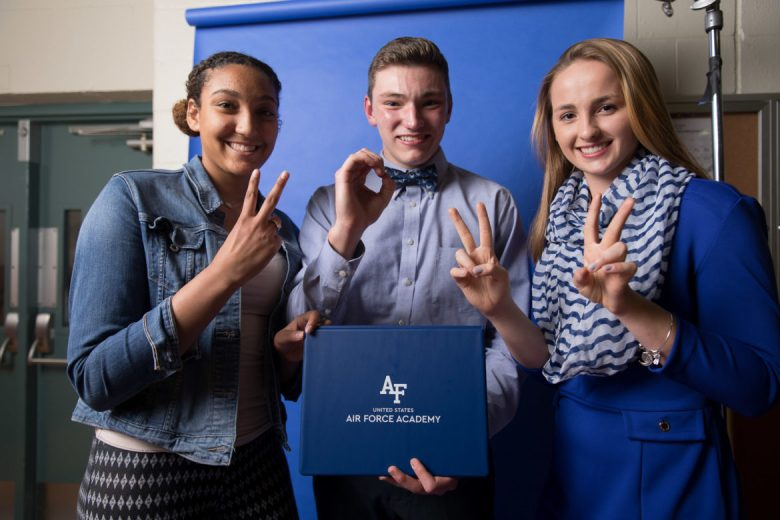 (from left) Health Careers High School seniors Chloe Kiniry, Aaron Mayfield, and Audra Blazicko
